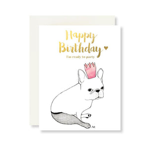 French Bulldog Birthday Card w. Gold Foil - Joy Street