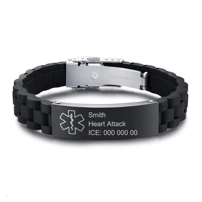 Personalised Medical Alert ID Bracelet - Unisex Silicone Chain Band - Joy Street