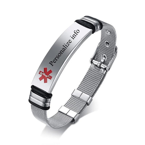 Personalised Medical Alert ID Bracelet - Unisex Stainless Steel - Joy Street