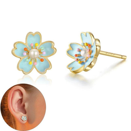 Cherry Blossoms Stud 925 Sterling Silver Earrings - Joy Street