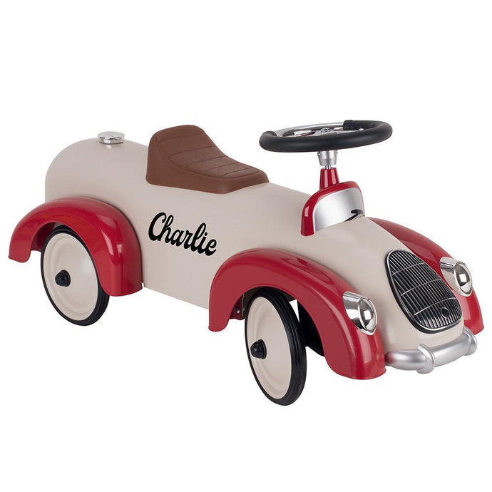 Personalised Classic Ride On Car for Kids - Red/Beige - Joy Street