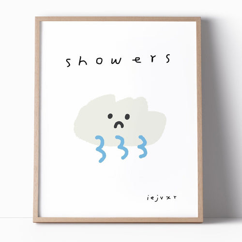 Cloud Showers Illustration Art Print - Joy Street