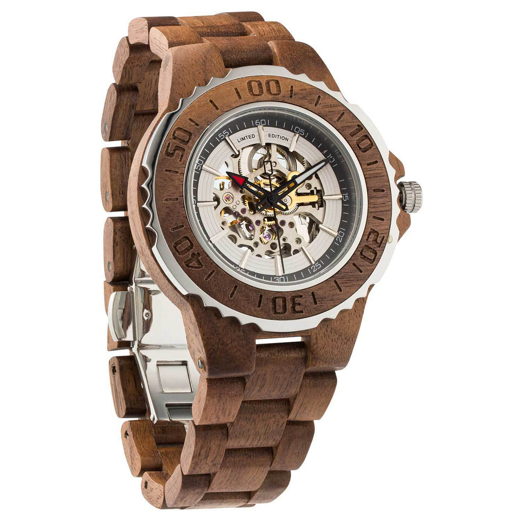 Men's Automatic Walnut Wood Watch w/ FREE Adjustment Tool - Joy Street