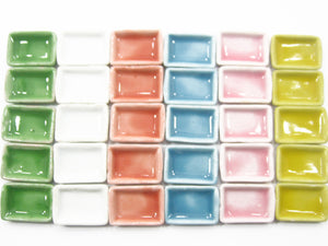 30 Mini Rectangle Plate Dish Doll House Miniature Kitchen Supply Ceramic 2cm 989