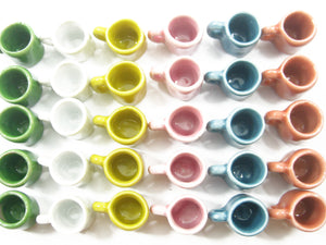 Dollhouse Miniature Ceramic Mixed Color Kitchenware Mug Cup Supply # L