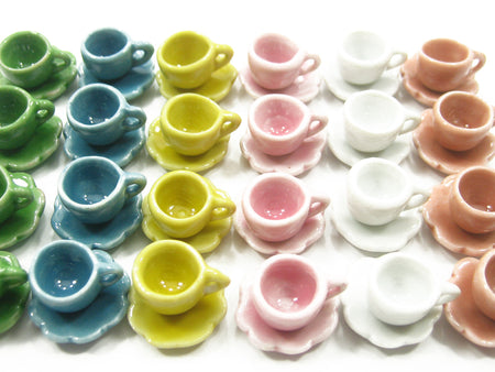 Dollhouse Miniature Mixed Color Ceramic Cup Saucer Scallop Plate #S