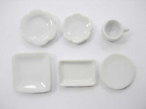 Dolls House Miniature 32 White Ceramic Cup Saucer Scallop Square Plate Dish 1341