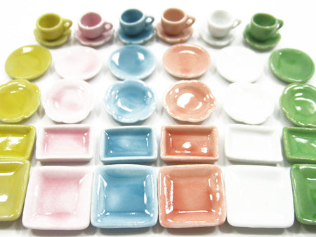 36 Mixed Square Plate Dish Cup Scallop Saucer Dollhouse Miniature Ceramic 1379