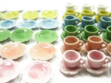 Dollhouse Miniature 90 Mixed Color Ceramic Scallop Plates Dish Cup Saucer 1711