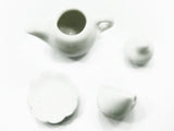 Dollhouse Miniature Ceramic 16/34 White Teapot Cup Plate Scallop Saucer #S 1715