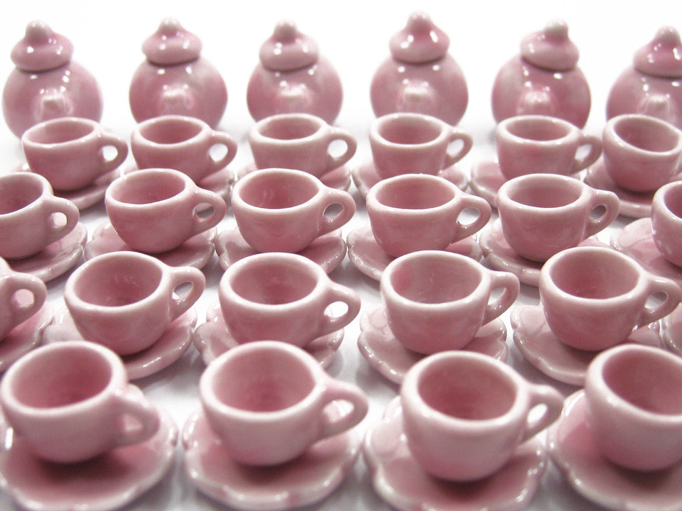 Dollhouse Miniature Ceramic 24/60 Pink Teapot Cup Scallop Plate Saucer #S 1995