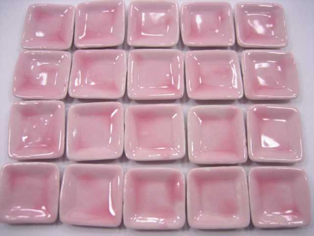 Dollhouse Miniature Kitchen Ceramic 20 Pink Square Plates Dishes Dining 2cm 2256