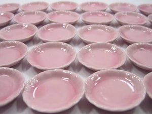 Dollhouse Miniature Kitchen Ceramic Pink Dining Round Plates Dishes 30 mm