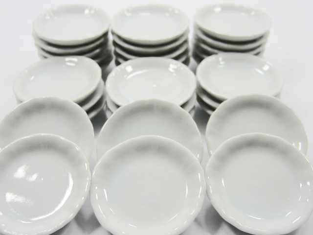 35mm White Round Plate Dish Ceramic Kitchenware Dollhouse Miniature