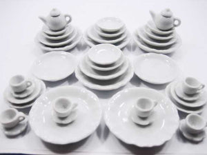 Dollhouse Miniature White 38 Ceramic Cup Scallop Saucer Plate Dish Teapot 2268