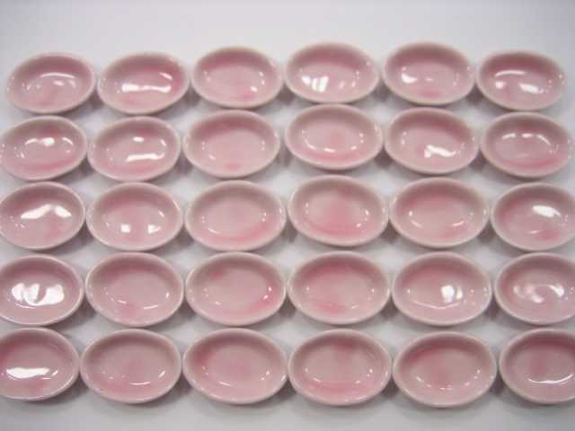 Dollhouse Miniatures Kitchenware Ceramic 30 Pink Oval Soup Bowl 2.5cm 2340