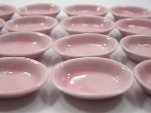 Dollhouse Miniature Kitchenware Supply Ceramic 20 Pink Oval Bowl 3.5cm 2342