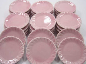 Dollhouse Miniature Kitchenware Ceramic 30 Mini Pink Round Plate Dish 3.5cm 2351