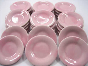 Dollhouse Miniature 30 Ceramic Kitchenware Mini Pink Round Plate Dish 3.5cm 2355