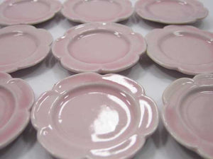 Dollhouse Miniature Kitchenware Ceramic 9 Pink Scallop Plate Dish 4cm 2356