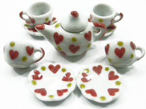 Dollhouse Miniature Ceramic 4/9 Heart Teapot Cup Saucer Scallop Plate #S 2368