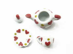 Dollhouse Miniature Ceramic 12/27 Heart Cup Teapot Saucer Scallop Plate #S 2369