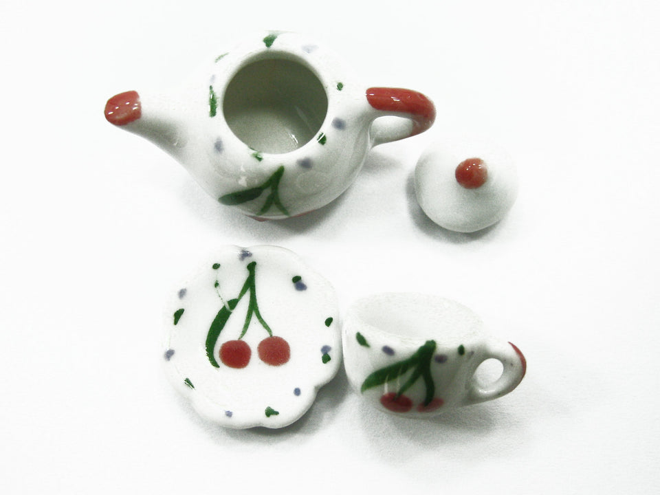 Dollhouse Miniature Ceramic 12/27 Cherry Cup Saucer Teapot Scallop Plate #S 2512