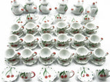 Dollhouse Miniature Ceramic 24/54 Cherry Teapot Cup Saucer Scallop Plate #S 2513
