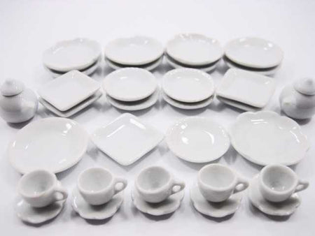 Dollhouse Miniature Ceramic 32 White Teapot Scallop Plate Dish Cup Saucer 2689