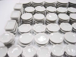 Dollhouse Miniature Ceramic 150 Mixed White Square Round Plate Scallop Dish 3561