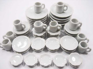 50 White Mixed Scallop Plate Round Dish Mug Cup Dollhouse Miniature Ceramic 3567