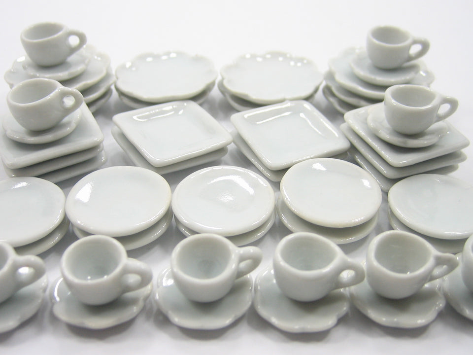 Dollhouse Miniature Ceramic 50 White Square Plate Dish Cup Scallop Saucer 3568