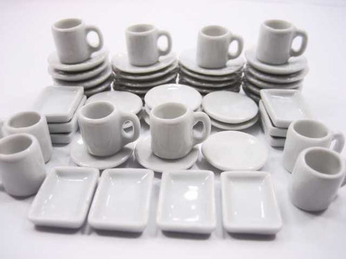 50 White Mixed Round Plate Square Dish Cup Mug Dollhouse Miniature Ceramic 3569
