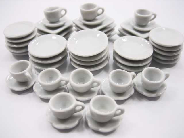 Dollhouse Miniature Ceramic 50 White Round Dish Square Plate Cup Saucer 3570