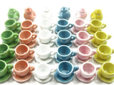 24/54 Coffee Cup Teapot Saucer Round Plate Dollhouse Miniature Ceramic #M 3848