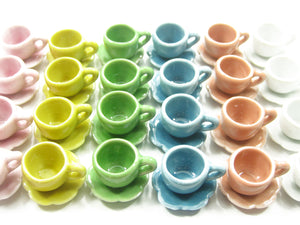 Dolls House Miniature Ceramic Mixed Color Cup Saucer Scallop Plate #M