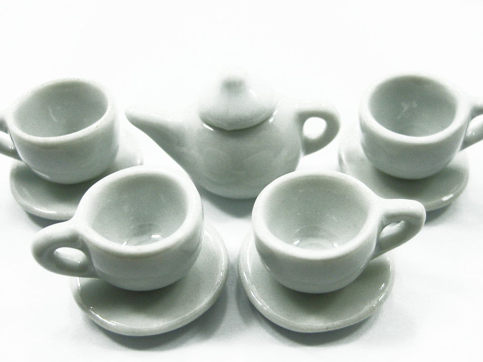 4/9 Tea White Cup Teapot Saucer Round Plate Dollhouse Miniature Ceramic #M 3859
