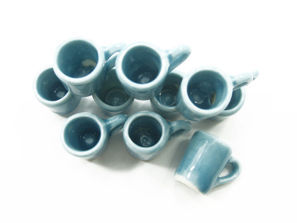 10 Blue Coffee Tea FUNNEL Mugs Cups Dolls House Miniature Supply Ceramic 3865