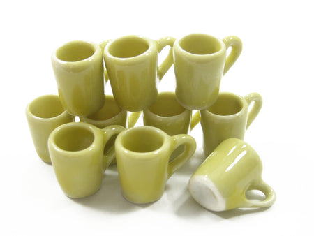 10 Coffee Tea FUNNEL Cup Mug Dollhouse Miniature Yellow Ceramic Supply 3866