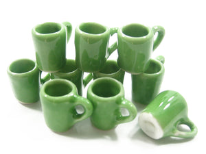 10 Coffee Tea FUNNEL Mug Cup Doll House Miniature Green Ceramic Kitchenware 3868