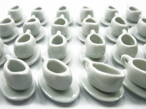 GRAVY STEAK MILK BOATS Saucer Plate Dollhouse Miniature White Ceramic