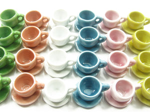 Mixed Coffee Cup Saucer Round Plate Dollhouse Miniature Ceramic #M