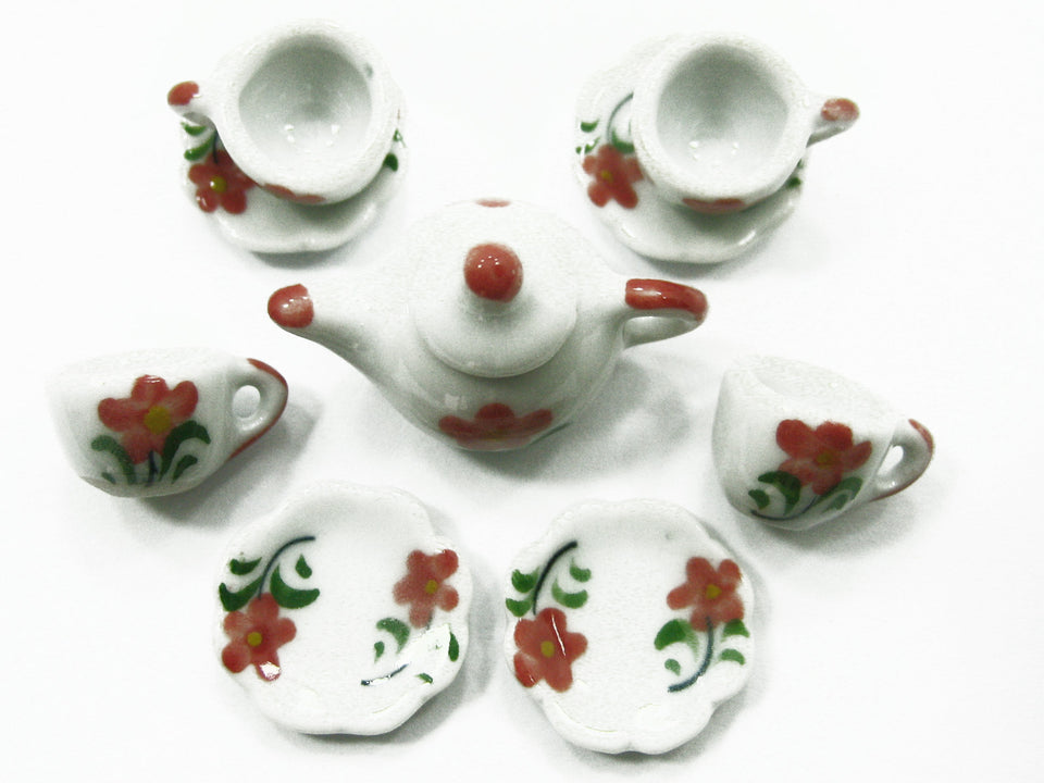 4/9 Flower Cup Teapot Saucer Scallop Plate Dollhouse Miniature Ceramic #S 3879