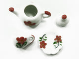Dollhouse Miniature Ceramic 12/27 Flower Cup Teapot Saucer Scallop Plate #S 3880