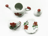 Dollhouse Miniature Ceramic 24/54 Flower Cup Teapot Saucer Scallop Plate #S 3881