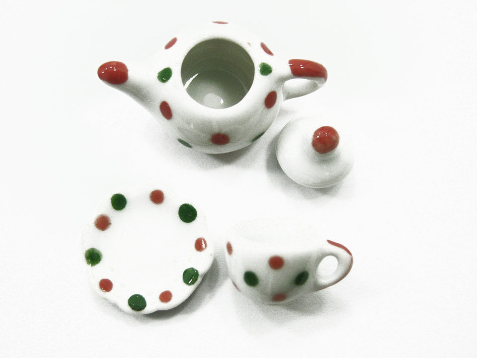 24/54 Xmas Cup Teapot Saucer Scallop Plate Dolls House Miniature Ceramic #S 3885