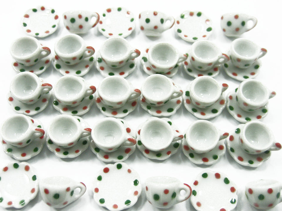 Xmas Tea Cup Saucer Scallop Plate Dollhouse Miniature Ceramic #S