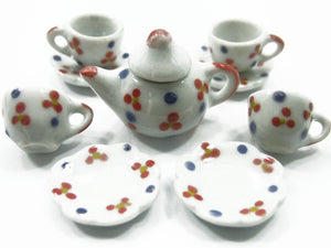 4/9 Paint Cup Teapot Saucer Scallop Plate Dollhouse Miniature Ceramic #S 3887