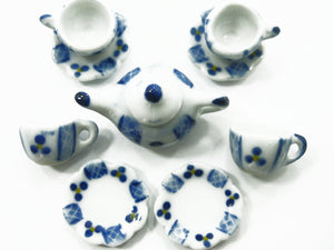 4/9 Paint Cup Teapot Saucer Scallop Plate Doll House Miniature Ceramic #S 3891