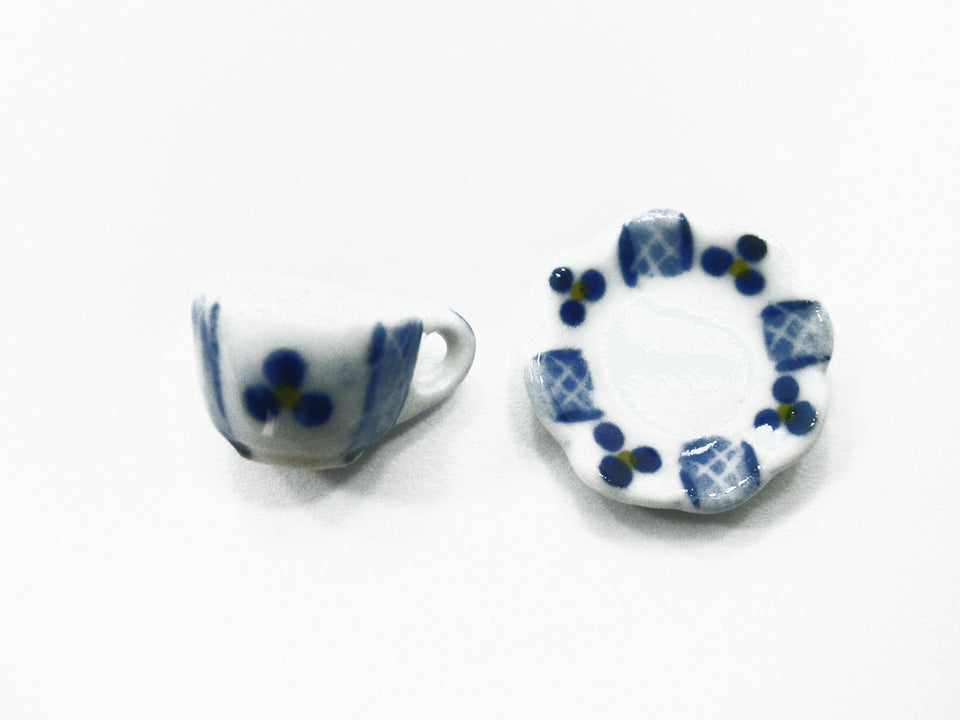 Paint Coffee Cup Saucer Scallop Plate Dollhouse Miniature Ceramic #S